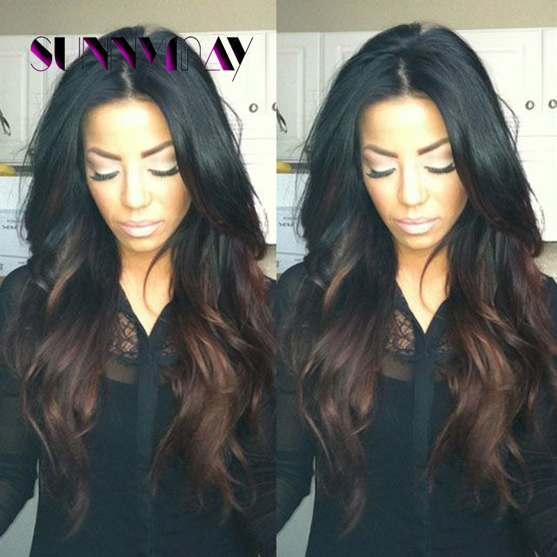 Sunnymay Loose Wave Wigs Full Lace Wig Lace Front Wigs With Baby Hair Brazilian Human Hair Wigs Ombre #1B T #4 2 Tone Wig Stock<br><br>Aliexpress