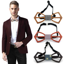 Fashon Men And Women Bow Ties Real Natural Handmade Wooden Bowtie New Vintage Wood Unique Personality Accessory 2017 New Arrival