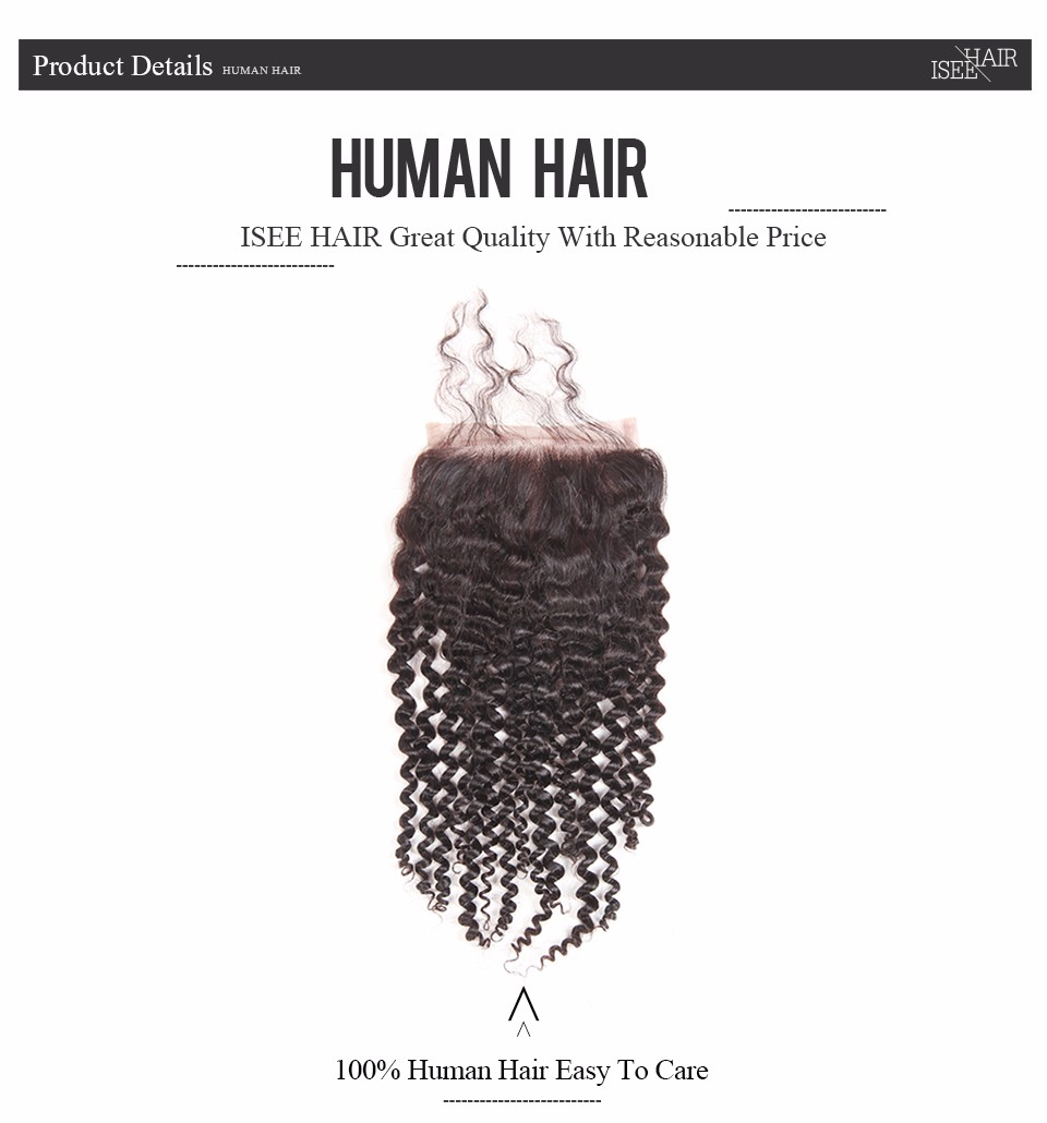 ISEE Remy Human Hair Kinky Curly Closure Hand Tied Lace Based 4″*4″ Free Part Free Shipping