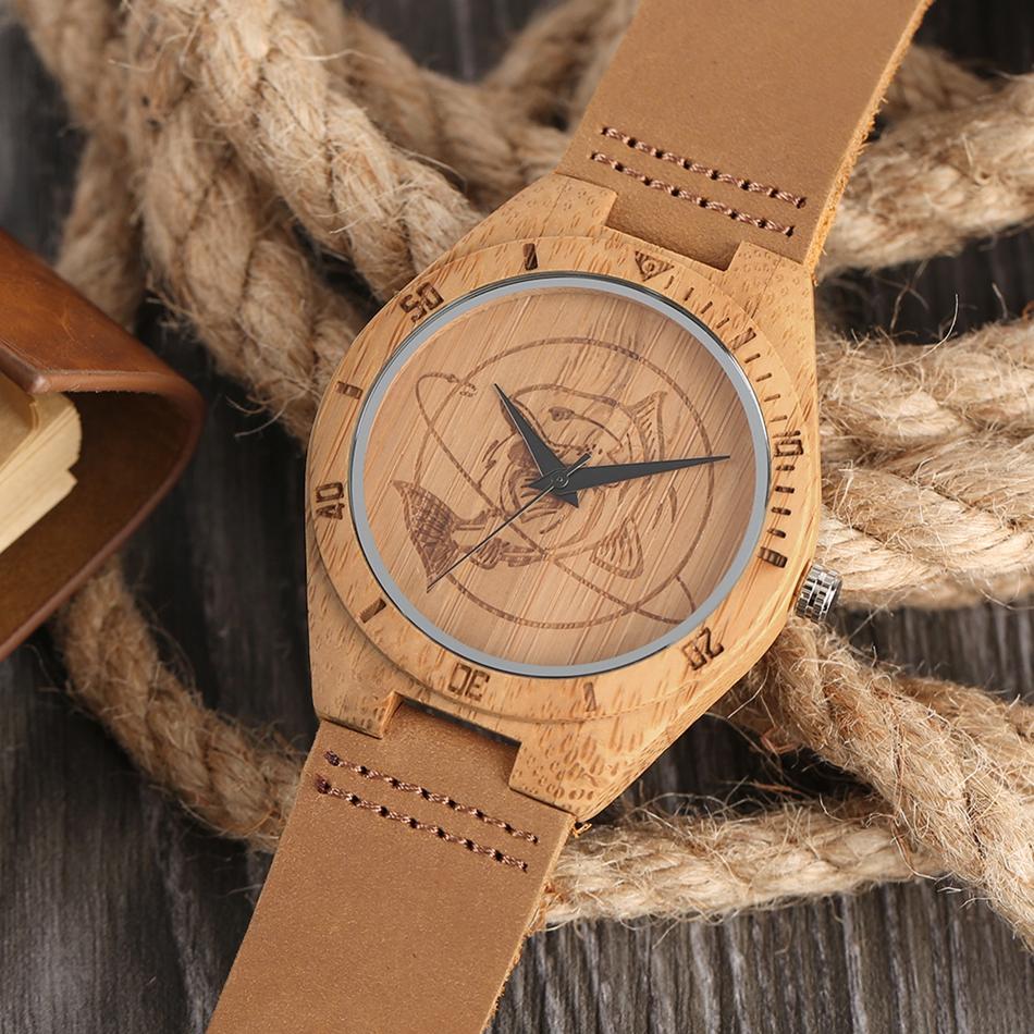 ไม้ไผ่ไม้นาฬิกาข้อมือผู้ชายฉลามแบบหน้าปัดที่ทำด้วยมือไม้สร้างสรรค์ดูผู้หญิงอิน 18