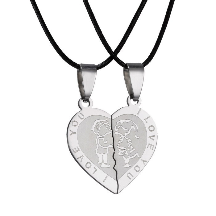 Couple/'s Stainless Steel Necklace Sets  I Love You Heart Shape Pendant gift