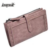 AEQUEEN Fashion Women Wallets Leather Long Wallet Women Coin Purses Thread Card Holder Drawstring Purse Belt Pouch Lady Carteria