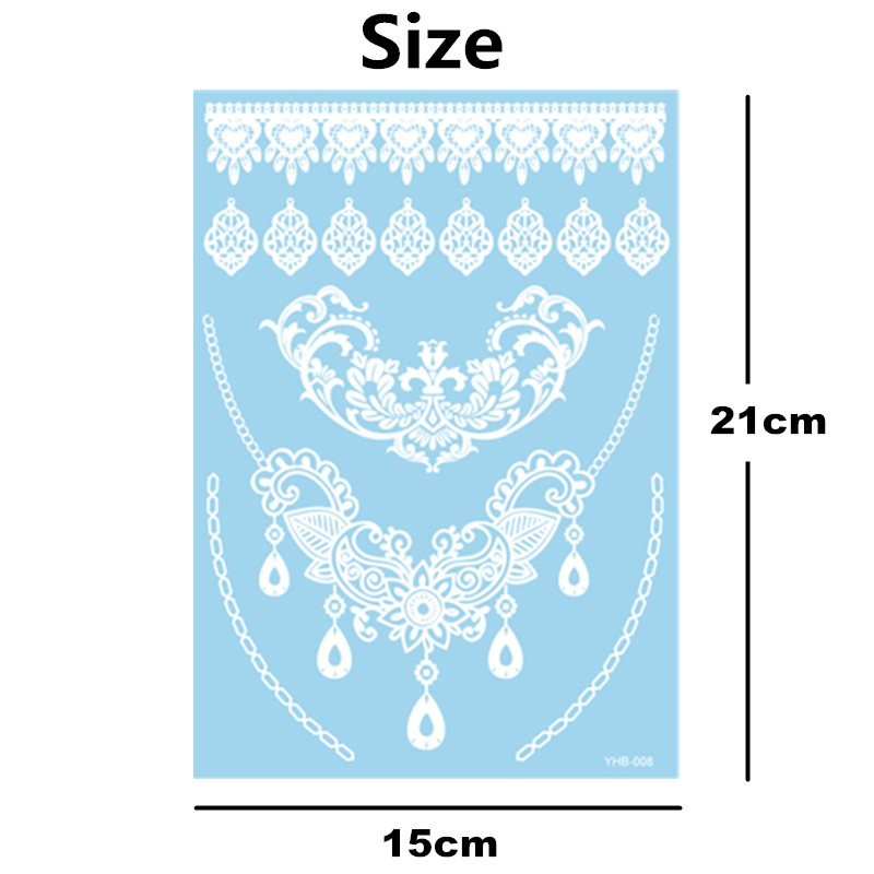 White Lace Stickers Water Transfer Temporary Tattoo Body Art Waterproof 3-5 Days 6