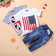 DT0206 Free shipping boys summer clothes sets with the British and American flag 2 tees + jeans 3 pcs. suit children's clothing