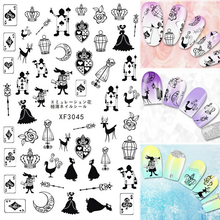 3D Black Poker Ace Wonderland Queen Crown Nail Art Sticker Nail Tips Decal Back Glue Adhesive Stickers Fairy Story
