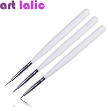 Free Shipping 3 PCS Acrylic French Nail Art Liner Brushes Drawing Dotting Nail Brush Portable Nail Brushes Styling Tools