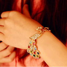 Fashion Gold Color Colorful Crystal Peacock Bracelet Link Chain Bangle For Elegant Women Jewelry Accessories Gift