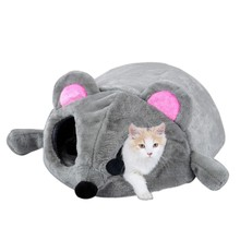 2017 New Gray Mouse Form Bed Small Cats Dogs Cave Bed Removable Kisses Waterproof Bottom Cat House Mouse For Cats House D1(China)