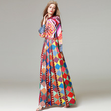 nation bohemian colorful maxi long dress women autumn spring runway vintage oriental geometric boho pleated long dress 2017(China)