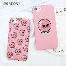 USLION Cartoon Peach Phone Case For iPhone 6 6s Plus Cute Fruit Pattern Ultra Slim Hard PC Full Cover Cases For iPhone 6 Plus