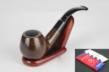 16 Tools Handmade Natural Wooden Smoking Pipe Set Weed Tobacco Round Ebony Wood Bent Smoking Pipe 9mm Filters 856y
