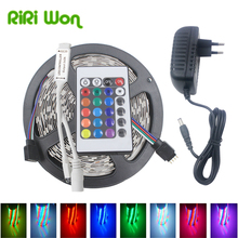 5M 10M LED RGB Strip Light SMD5050 2835 Flexible Led Strip Tape RGB Diode Ribbon 30LED/M DC 12V With Controller Adapter