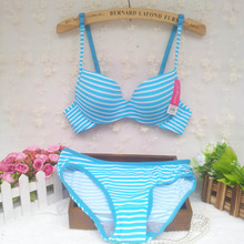 2015 new cotton Summer stripe seamless underwear push up thin cup lingerie young girl cute and comfortable 5 colors bra set