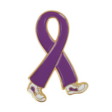 General Cancer Awareness Walking Running Eastern Star OES Sneaker Shoe Lavender Ribbon Lapel Pins