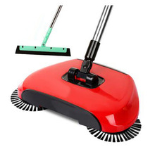 Broom Cleaner Robot Household Cleaning Hand Push Sweeper Broom machine Floor Cleaner Dustpan Combination+EVA Sweeper-Red