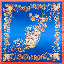 90 *90cm Skull Petunia Flower Silk Scarf Big Square Twill Sjaal Cachecol Bandana Wrap for Women Autumn Winter(China)
