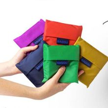 1 pc Square Pocket Shopping Bag Candy 7 colors Available Eco-friendly Reusable Folding Handle Polyester Bag