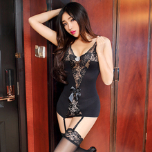 Buy Sexy Lingerie Lace Bow Babydoll Sleepwear Deep V-Neck Lenceria Sexy Ladies Nightgown+G-String Pajamas erotic Sleepwear Costumes