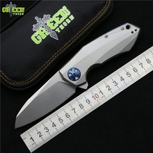 Green thorn ZT0456 Flipper folding knife bearing D2 blade Titanium handle outdoor camping hunting pocket fruit knife EDC tools