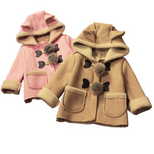 BibiCola baby girls christmas autumn winter jacket coats Children hooded outerwear kids warm outfits leather thicken cute coats(China)