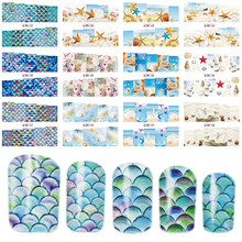 12 Designs In 1 Set Nail Sticker Ocean/Beach Patterns Decals Water Transfer Image Tattoo Nail Art Decoration Tip Set BEBN157-168(China)