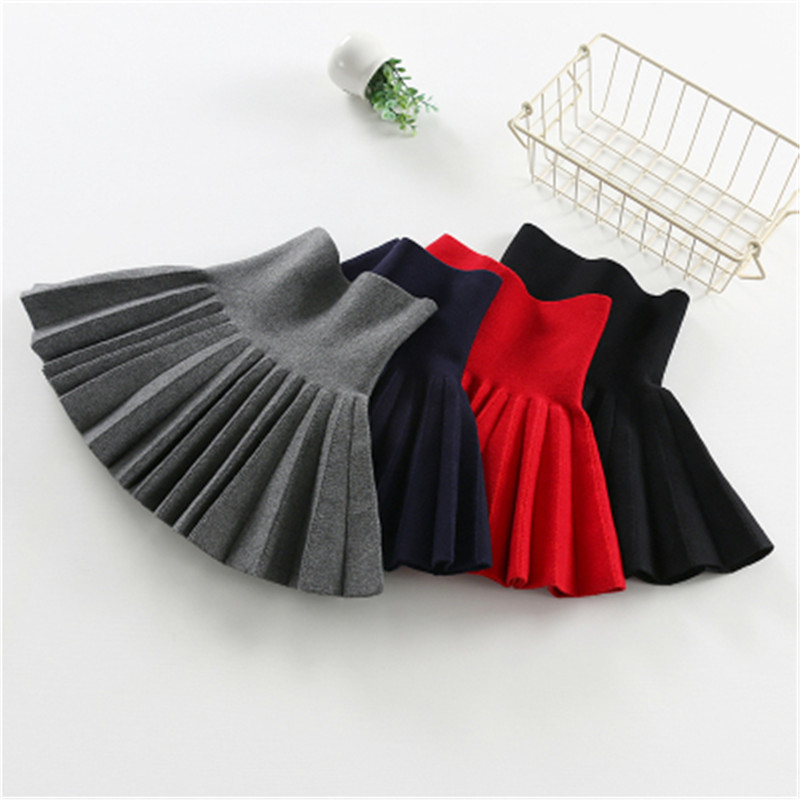 Hot New Fashion 2016 Cute Bow Child Skirt Kids Pleated Wool Blend Skirt Knit Toddlers Philabeg Children Baby Girls Tutu Skirts(China)