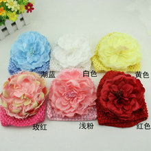 MOQ1set New Baby waffle Stretch Crochet Hat Beanies & Big Peony Flowers Clips sales and free shipping(China)