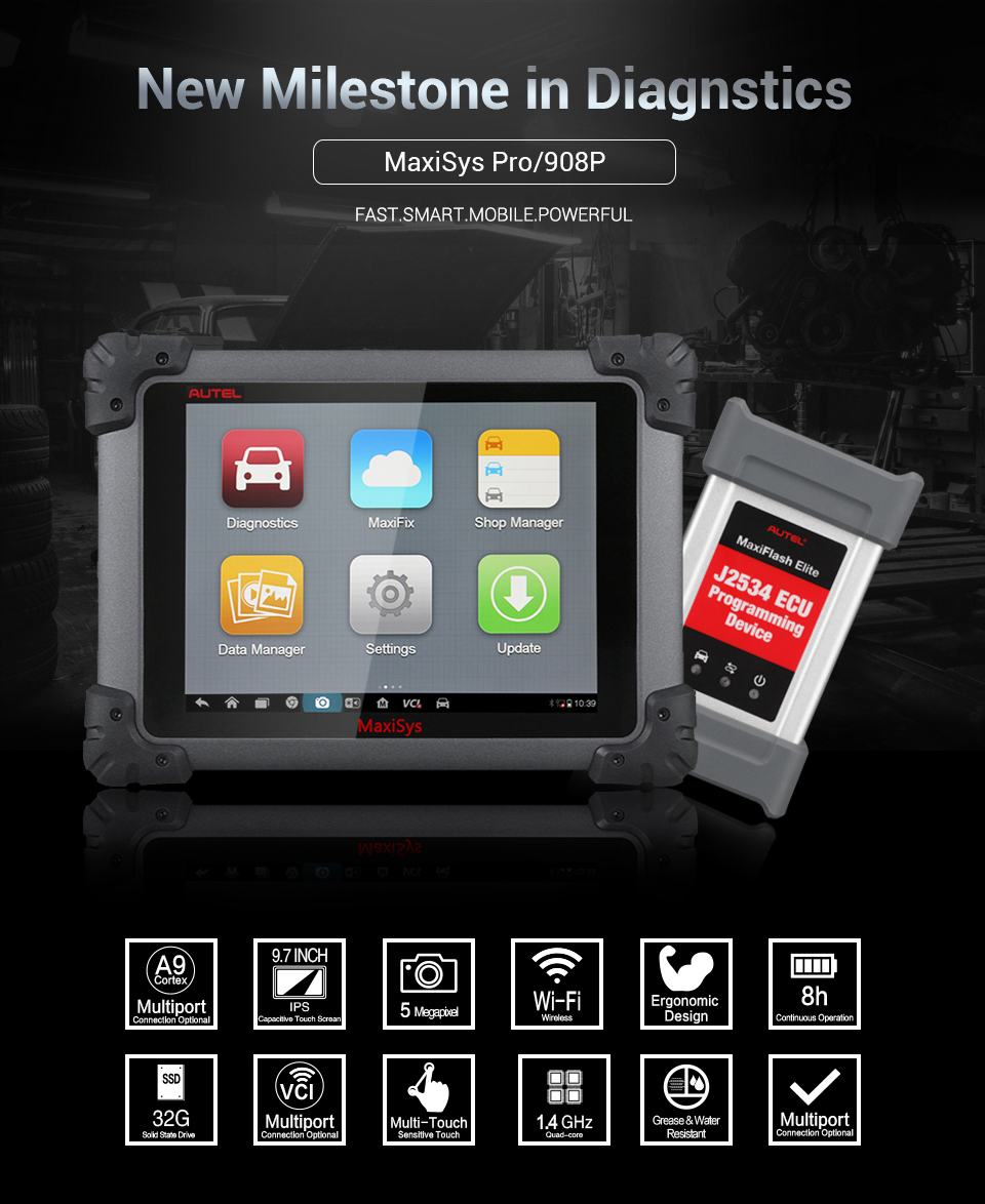 Original Autel MaxiSYS Pro MS908P ECU Programming Diagnostic Tool Scanner System with WiFi/BT Support Online