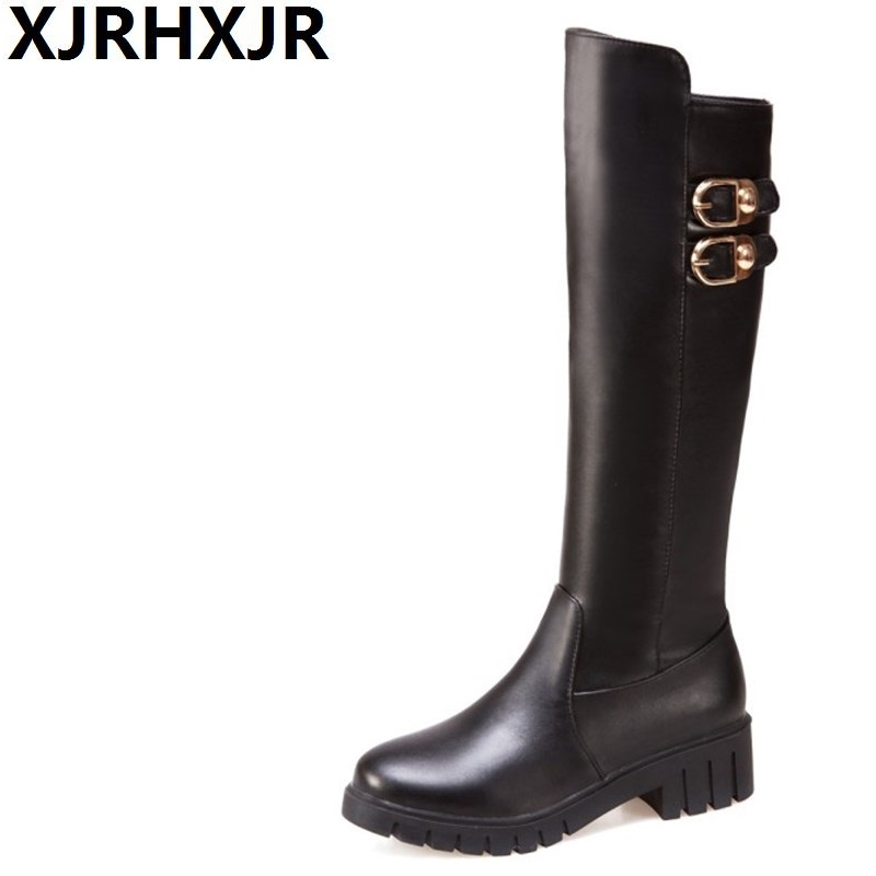 XJRHXJR Side Zipper Long Boots Women Winter Warm Shoes Fashion Buckle Knee High Riding Boots Ladies Round Toe Black White Boots<br>