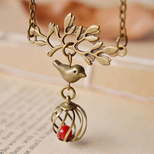 Vintage Handmade Bronze Forest Branches Bird Locket Coral Pendant Necklace Women Charm Fashion Jewelry Accessories Wholesale