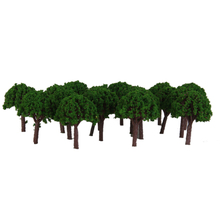 Plastic Mini Trees 3cm Scenery Landscape Train Model Trees Green Scale 1/500 50pcs for Railway Park Scenery Home Decoration(China)