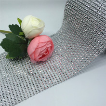 "Wedding Decoration 4.75""*10yard Diamond Mesh Trim Wrap Roll Sparkle Rhinestone Cake Ribbon Strass Party Event Table Supplies"