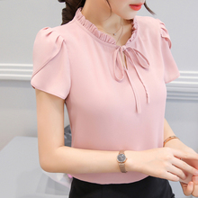 Buy 2017 Spring Summer Women Blouse Cute Chiffon Shirt Ladies Ruffles Stand Neck Shirts Short Sleeves Women's Blouses Tops Plus Size for $7.00 in AliExpress store