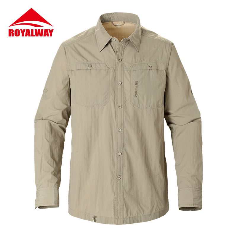 ROYALWAY Camping Hiking Shirts Quick Dry Breathable UV Proof 50+ Full Length Sleeves #RIM7037CS<br>
