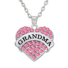 my shape GRANDMA Pendant Clear Blue Pink Heart Necklace Grandmother Grand Mom Jewelry Women Gift from Grand Daughter
