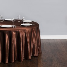 Free Shipping 10pcs Cheap Brown 70''/90''/108''/120''/132'' Round Satin Table Cloths For Banquet Wedding Table Covers(China)