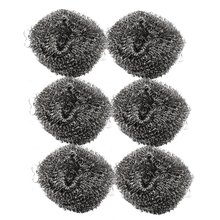 "SZS Hot 6 Pcs 2.1"" Diameter Stainless Steel Wire Sponge Metal Pot Scrubber"