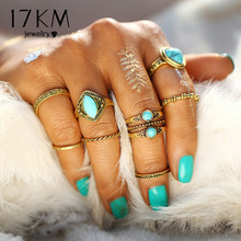 17KM Boho Natural Stone Knuckle Rings Vintage Tibetan Geometric Gold Color Ring Set for Woman Man Fashion Anillos Punk Jewelry