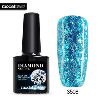 Modelones Hot Sale Diamond Nail Gel Blue Color Glitter UV Nail Polish Varnish Long Lasting Semi Permanent Led Nail Gel Glue