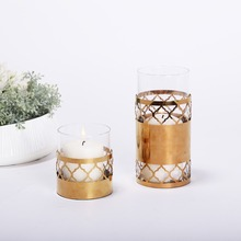 Gold Metal Cylinder Candlestick Holder Iron Hollow Candle Holder Tealight Candlelabra Home Wedding Accessories Decoration(China)