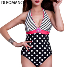 One Piece Swimsuit Women Striped Push Up Bodysuit Monokini Female Scrunch Butt Halter Bathing Suit Maillot De Bain D258