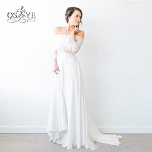 2017 New Arrival Beach Country Bohemian Cheap Wedding Dresses Sexy Off the Shoulder Lace Top Sweep Train Chiffon Bridal Gown