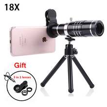 2017 Phone Camera Lenses Kit 18x Zoom Optical Telescope Telephoto Lens For iPhone 5 5s 6 6s 7 8 Plus X Huawei With Tripod Clips(China)