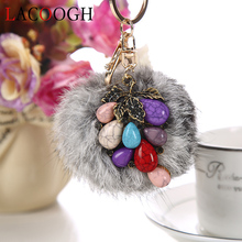 lacoogh New Trendy Ethnic Keyrings with Bag Phone Car Key Chains Long Stone Rabbit Fur Bohemia Keychains for Women Key Holder(China)