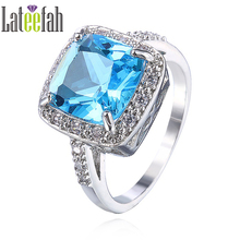 Lateefah Store Luxury Created Aquamarine Wedding Rings for Women White Gold Color Cushion Cut Cubic Zirconia Female Ring Anel