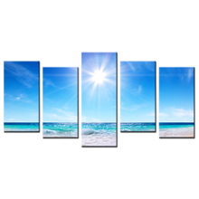 5pcs Set Modern Seascape Picture Painting Summer Warm Sun At The Sea Canvas Wall Art Decoration Poster Custom Prints