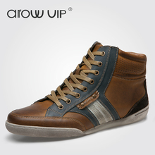 arow VIP Brand Fashion Genuine Leather Casual Shoes, High Quality Ankle Leather Men Shoes, Designer Fashion Sneakers For Men(China)