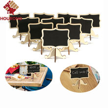 10Pcs/Pack Mini Lace Blackboard Chalkboard Wooden Blackboard Price Stand For New Year Party Christmas Wedding Decoration
