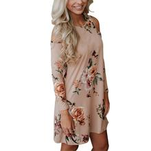 Cold Shoulder Floral Print Long Sleeve Summer O-Neck Dress Vintage Casual Pretty Dress Women Chic Chiffon Pink Lady Mini Dress(China)