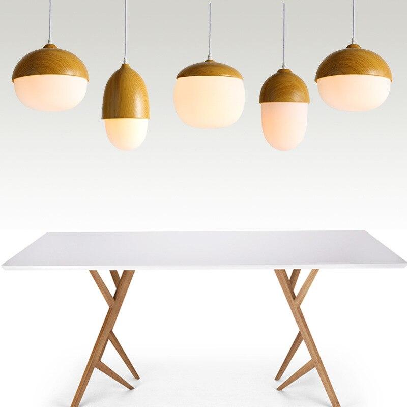 Modern Pendant Lights Glass Lampshade Loft Pendant Lamps E27 110V 220V for Dinning Room Wooden Surface Iron  Lighting WPL022<br>